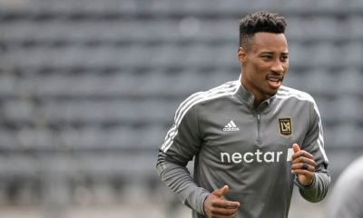 LOS ANGELES, CALIFORNIA - APRIL 24: Mark-Anthony Kaye #14 of Los Angeles FC warms up prior to a game against the Seattle Sounders at Banc of California Stadium on April 24, 2021 in Los Angeles, California. (Photo by Michael Owens/Getty Images)