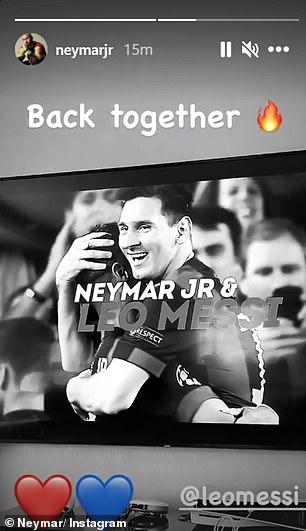 Neymar pareció confirmar la llegada de Messi al PSG el martes, publicando 'de nuevo juntos'