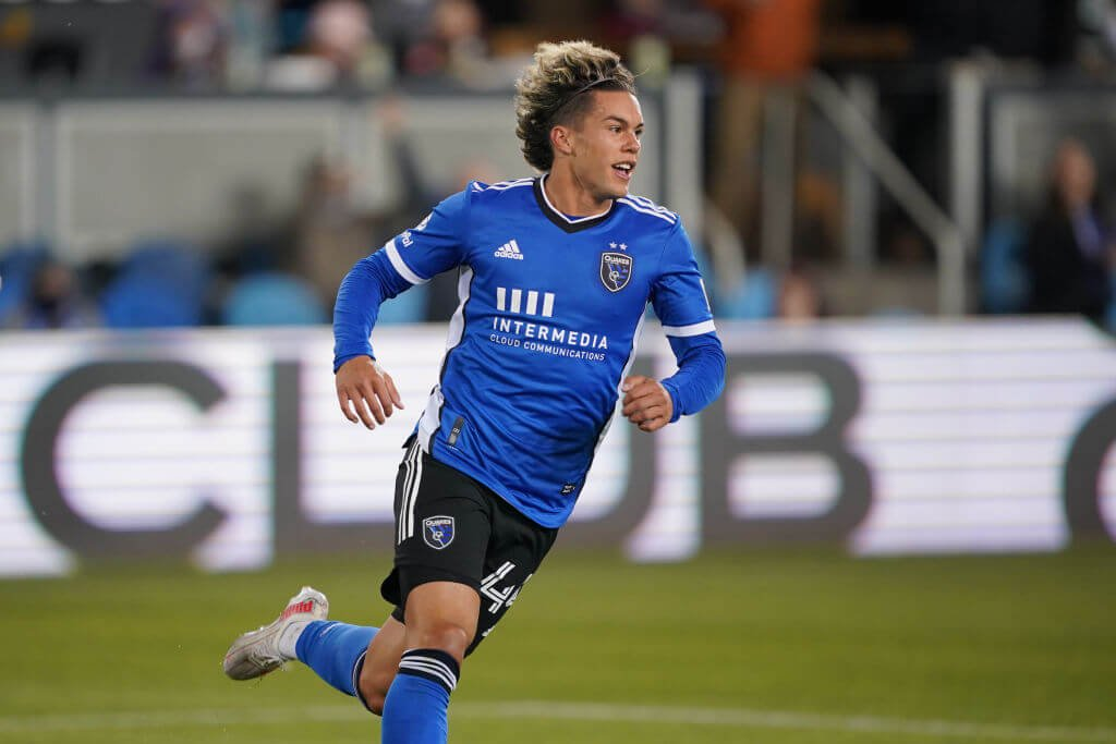 SAN JOSE, CA - MAY 1: Cade Cowell #44 of the San Jose Earthquakes during a game between D.C. United and San Jose Earthquakes at PayPal Park on May 1, 2021 in San Jose, California. (Photo by John Todd/ISI Photos/Getty Images)