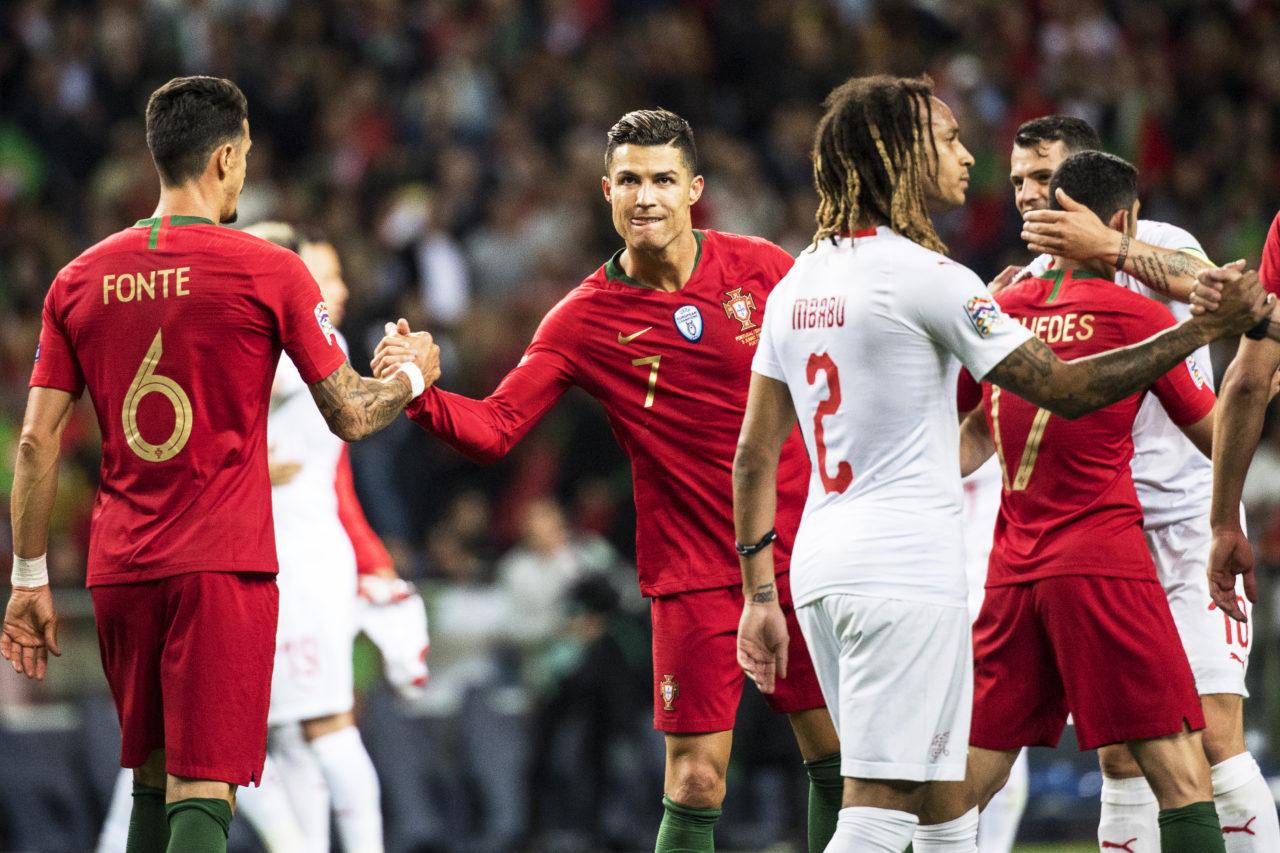 Jose Fonte and Cristiano Ronaldo