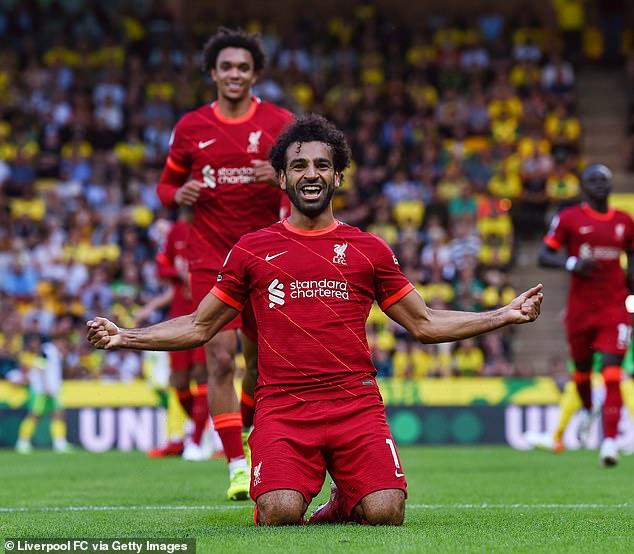 Mohamed Salah abrió su cuenta goleadora de la temporada en la victoria por 3-0 del Liverpool en Norwich