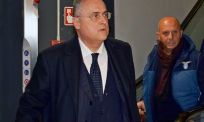 epa08087717 SS Lazio owner and president Claudio Lotito arrives at Fiumicino airport, near Rome, Italy, 23 December 2019, as the team arrived back home after winning the Supercoppa Italiana 2109 against Juventus, which was played in Riyadh, Saudi Arabia. Lazio won 3-1. EPA-EFE/TELENEWS