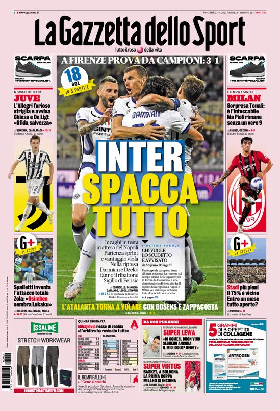 Today's Papers – Inter's law, Allegri warning