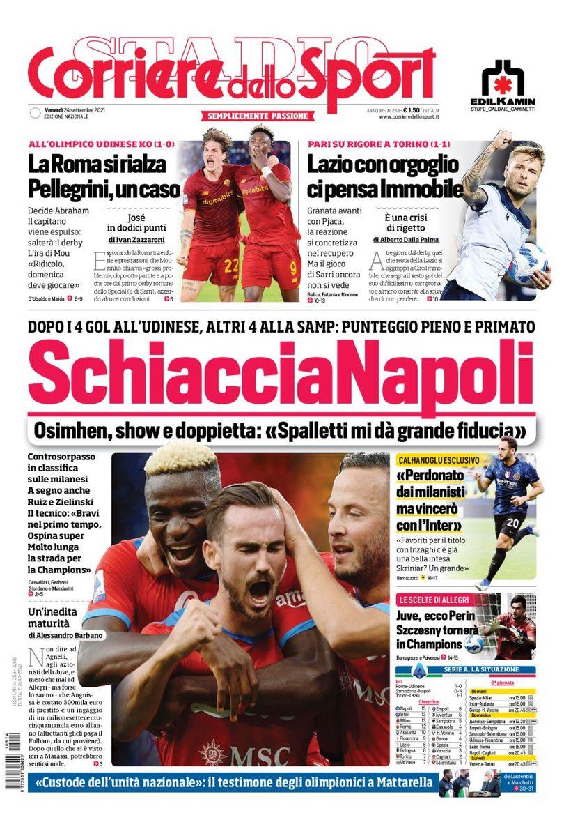 Today's Papers – Napoli crush everyone, Pellegrini controversy