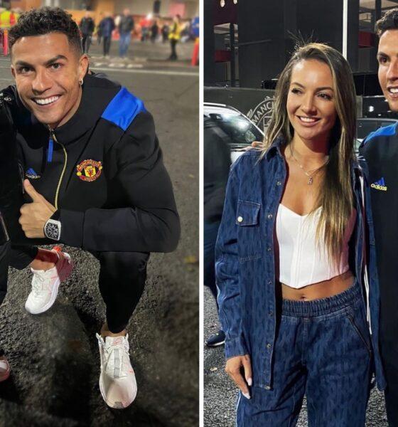 Cristiano Ronaldo le alegra el día al hijo de Fred al detenerse para tomarse una foto con él y la hermana de su amigo del Manchester United después de la victoria contra Atalanta