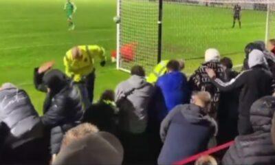 Tremendo golpe: cobro de penalti terminó en pelotazo a guardia de seguridad que estaba cerca al arco | Fútbol